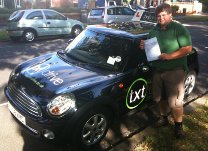 Charlie passes driving test in Bedford
